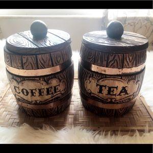 Vintage Barrel Kitchen Canister Set Coffee Tea